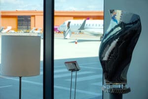 Upcycled aviation piece at Signature FBO, Luton Airport, Beds
