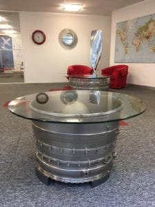 Tornado table at the offices of Private Fly