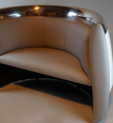 Chair created from a Challenger 601 engine cowl
