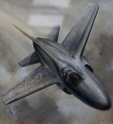 Painting of Jet G-39 in flight