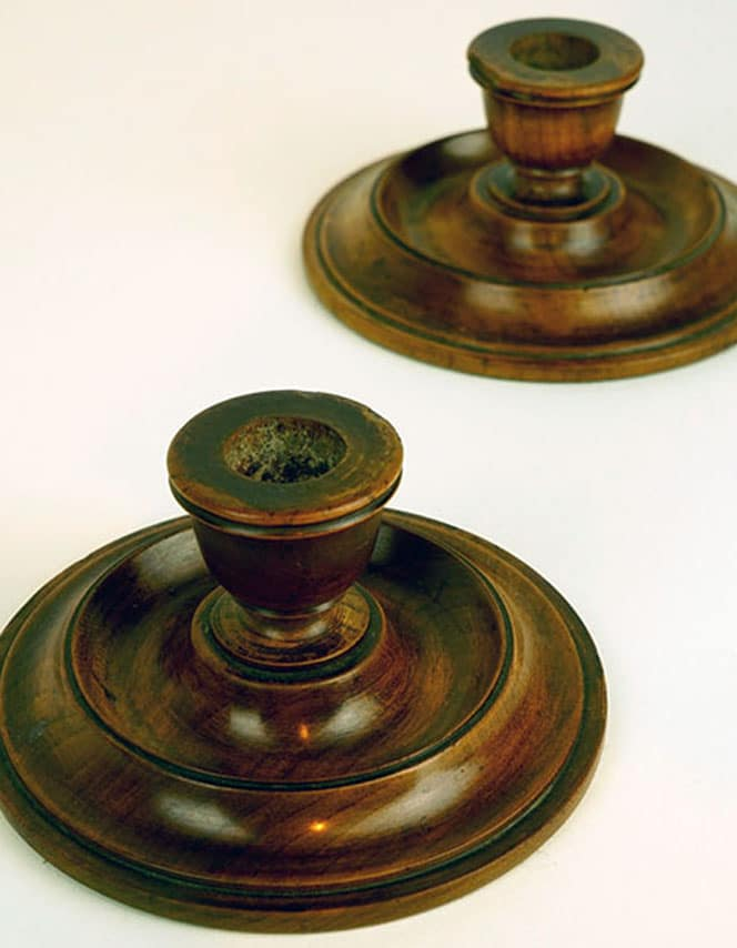 candlesticks made from WW2 timber