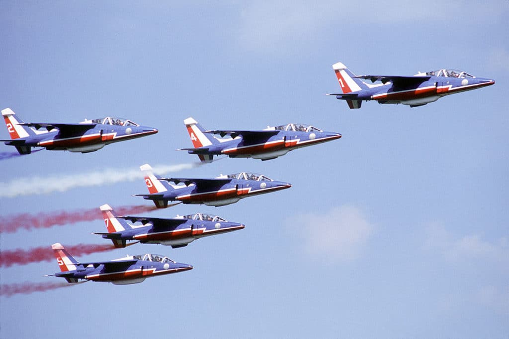 six French Alpha Jet aircraft of the Patrouelle de France flight