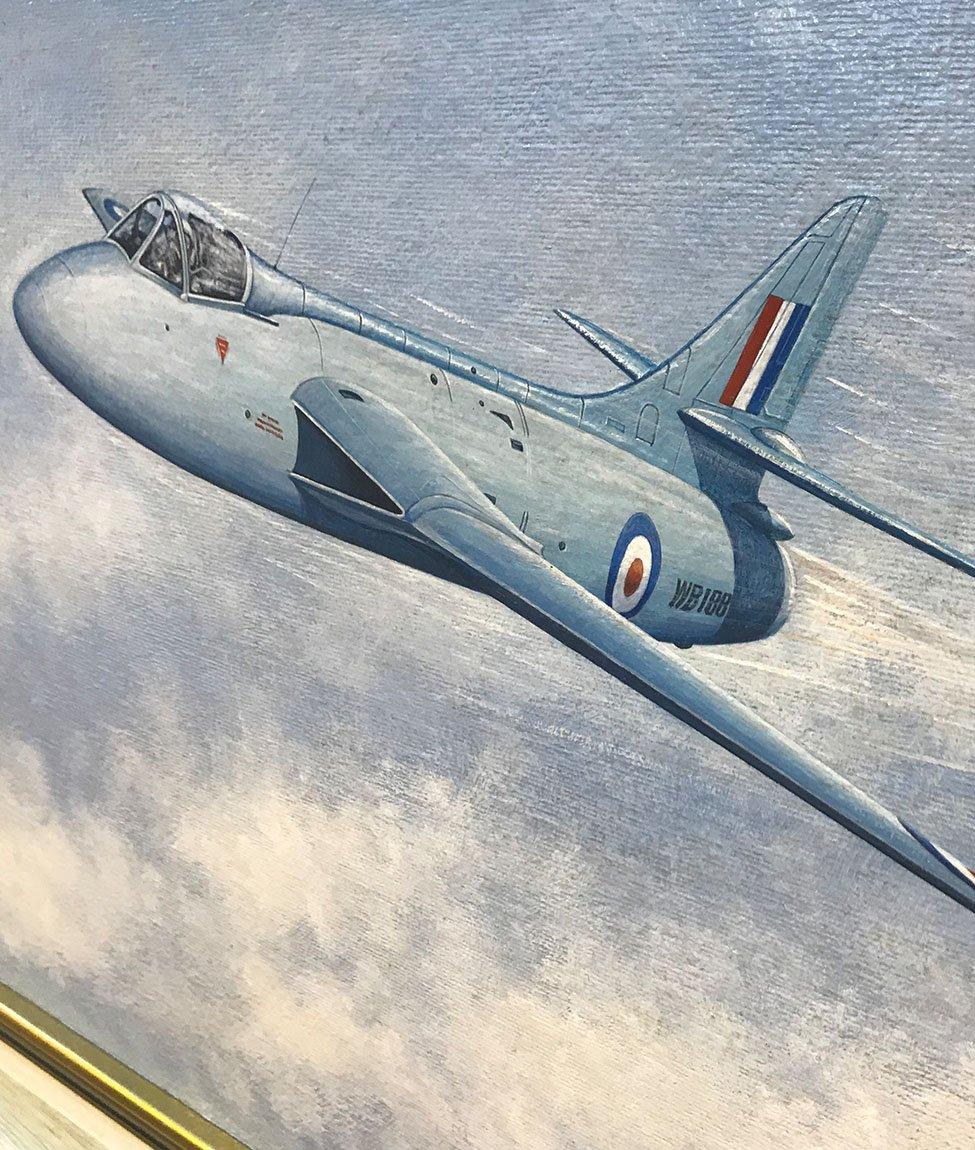 Painting of RAF Hunter in Flight